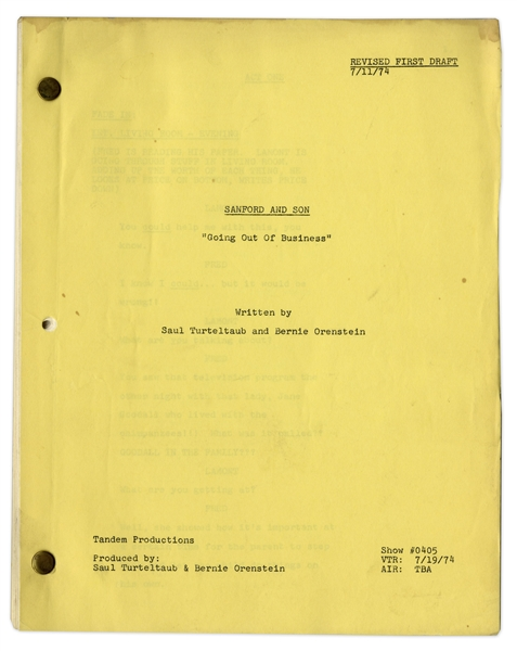 Redd Foxx's ''Sanford & Son'' Script -- Revised First Draft of ''Going Out Of Business'' Dated 11 July 1974 -- 39 Pages -- Very Good Condition -- From the Redd Foxx Estate
