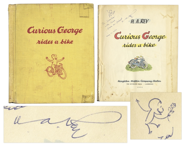 Curious George First Edition, Signed by H.A. Rey with Original Ink Drawing -- ''Curious George Rides a Bike'' From 1952