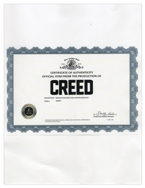 ''Creed'' Clapper Board -- With COA From MGM