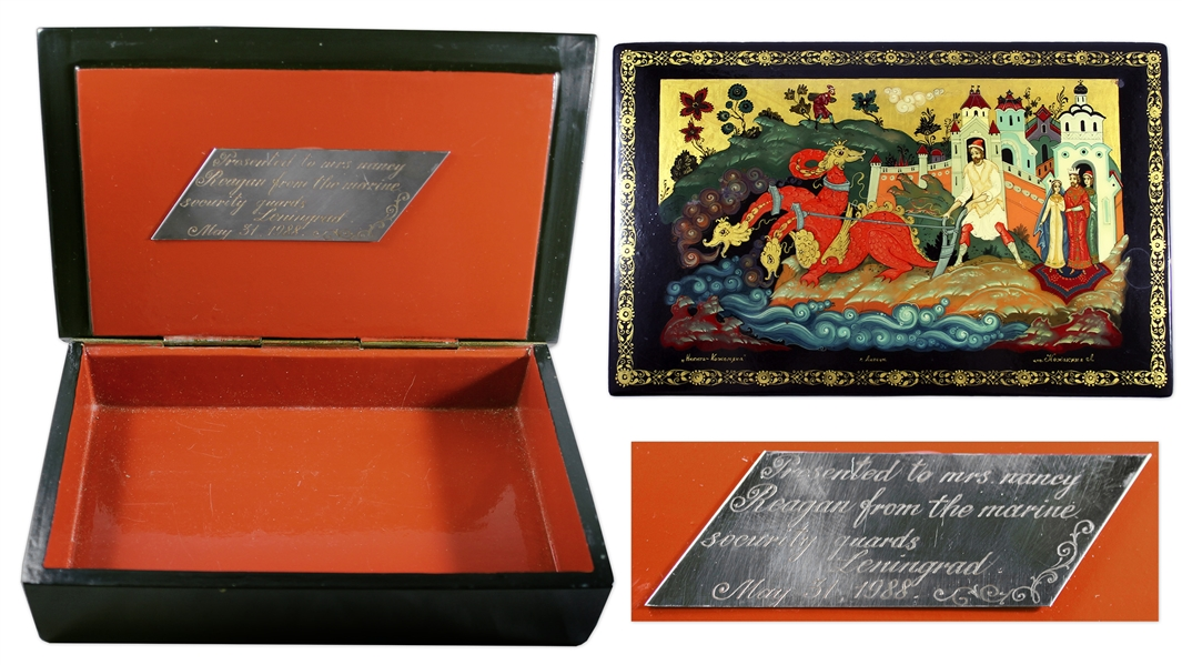 Ronald & Nancy Reagan Personally Owned Russian Box -- Displayed at the White House & With Plaque Engraved for Nancy Reagan