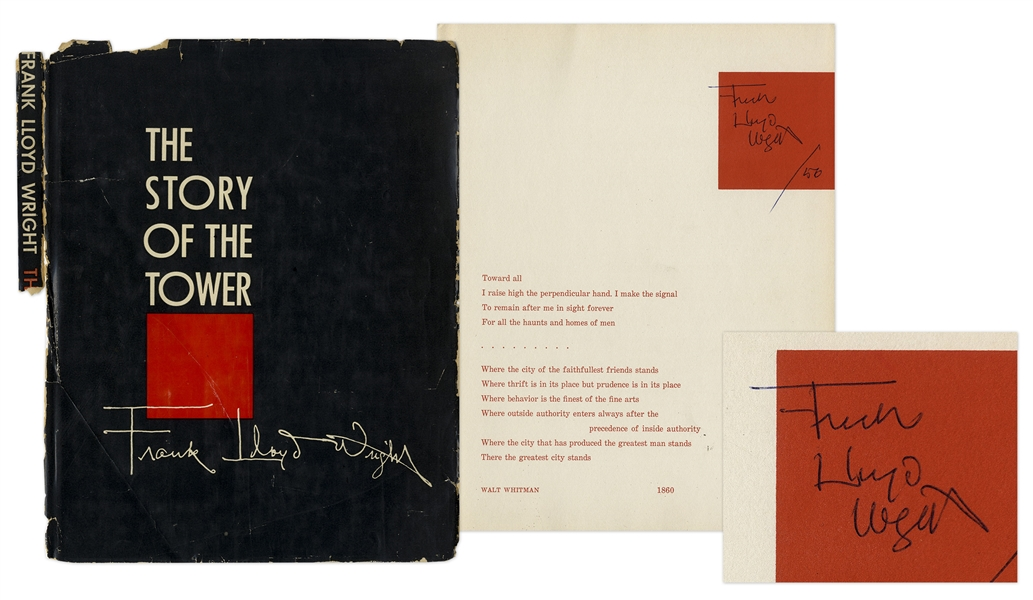 Frank Lloyd Wright Signed Copy of ''The Story of the Tower'' -- Rare Signed Publication by Wright Regarding Price Tower, His Only Skyscraper