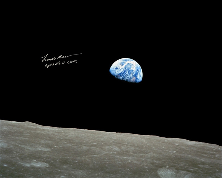Frank Borman Signed 20'' x 16'' of the Earth, as Seen From the Moon