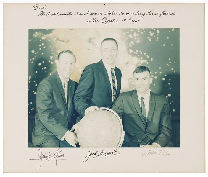 Apollo 13 Large 14'' x 11'' Color Photo, Crew-Signed on the Presentation Mat & Inscribed by Jack Swigert to Houston Oilers Owner Bud Adams