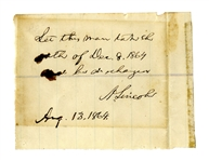 Abraham Lincoln Autograph Endorsement Signed as President -- Lincoln Mistakenly Dates the Proclamation of Amnesty as 8 December 1864