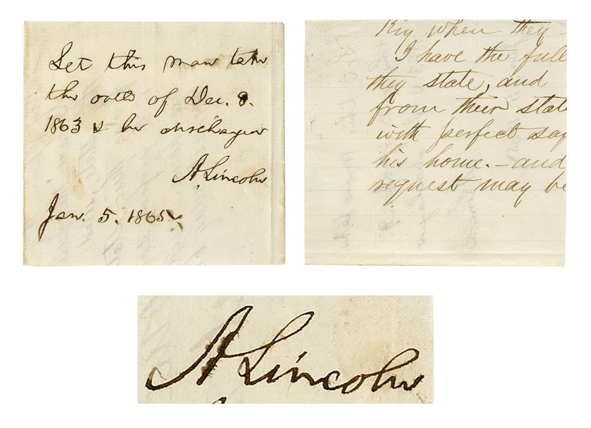 Abraham Lincoln Autograph Endorsement Signed as President -- Lincoln Issues Amnesty to Confederate Soldier