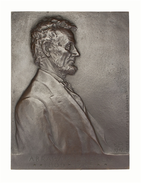 Bronze plaque of Abraham Lincoln by Victor D. Brenner From 1907 - The Image Used for the Penny Released in 1909