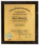 1952 Academy Award Nomination for The Snows of Kilimanjaro -- Presented to Leon Shamroy, the Famed Cinematographer