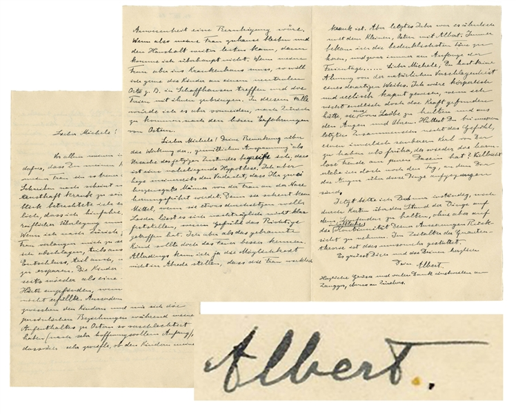 Albert Einstein Autograph Letter Signed With Previously Edited Content Regarding His First Marriage & Relationship With His Children -- ''...I would have been broken in body and soul...''
