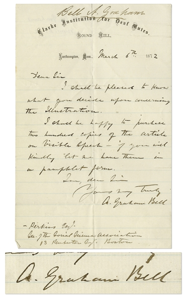 Alexander Graham Bell Autograph Letter Signed Regarding ''Visible Speech''