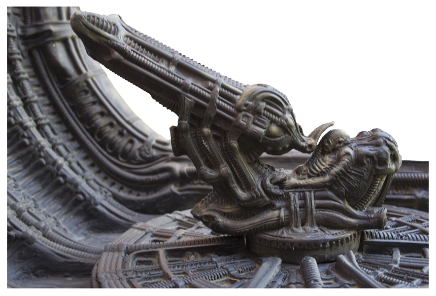 H.R. Giger Hand-Painted Model of Space Jockey & the Derelict Spaceship From ''Alien'' -- Measures Over 3 Feet by 3 Feet, Personally Owned by 20th Century Fox Executive Peter Beale