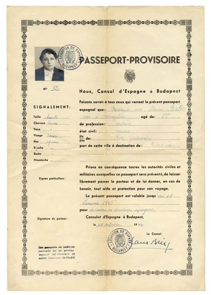 Ángel Sanz Briz Signed WWII Protective Passport -- Called ''The Angel of Budapest'', Sanz Briz Saved the Lives of Thousands of Hungarian Jews by Issuing Fake Spanish Passports -- Very Scarce