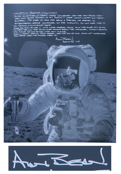 Alan Bean 16'' x 20'' Signed Photo, With His Personal Story on How He Collected ''Pristine Moon Dust''