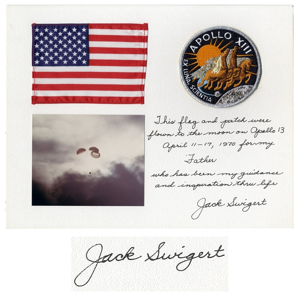 U.S. Flag and Apollo 13 Patch Both Flown to the Moon by Jack Swigert -- Signed & Gifted by Swigert to His Father, ''who has been my guidance and inspiration thru life''