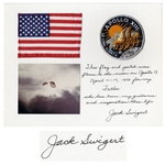 U.S. Flag and Apollo 13 Patch Both Flown to the Moon by Jack Swigert -- Signed & Gifted by Swigert to His Father, who has been my guidance and inspiration thru life