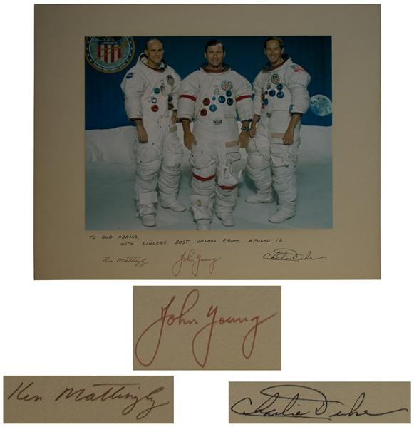 Apollo 16 Crew-Signed 20'' x 16'' Photo of the Astronauts in Their White Spacesuits -- Presented to Houston Oilers Owner Bud Adams