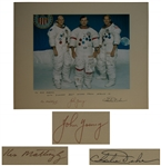 Apollo 16 Crew-Signed 20 x 16 Photo of the Astronauts in Their White Spacesuits -- Presented to Houston Oilers Owner Bud Adams