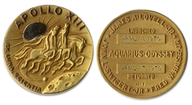 Jack Swigerts 14K Gold Robbins Medal Flown Aboard Apollo 13 -- One of Only 2 Given to Each Astronaut