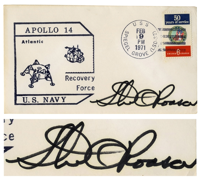 Stu Roosa Signed Apollo 14 FDC -- Postmarked 9 February 1971 from the USS Spiegel Grove