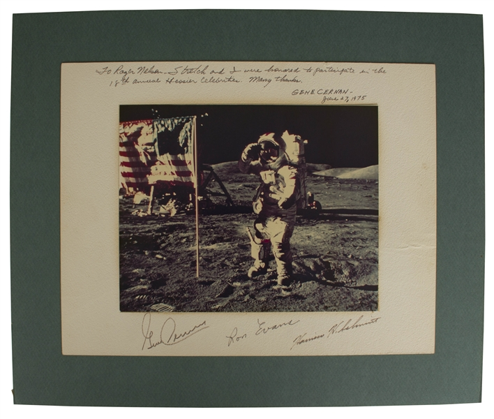 Apollo 17 Photo Display Signed by Gene Cernan, Ron Evans and Harrison Schmitt -- Measures 14'' x 11''