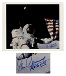 Apollo 17 Astronaut Gene Cernan Signed 14 x 11 Photo -- The Last Man to Walk on the Moon