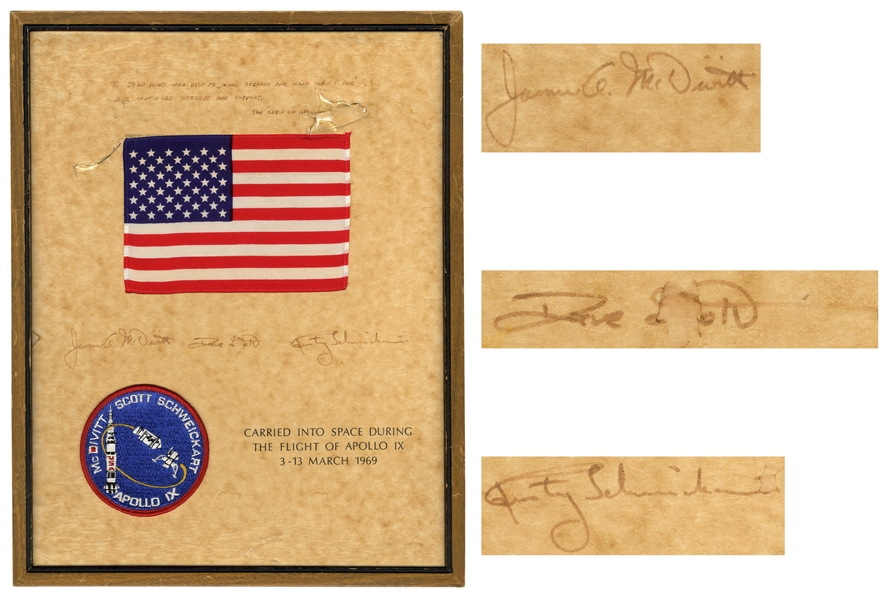 Apollo 9 Flown U.S. Flag & Mission Patch -- With Certificate Signed by Crew Members Dave Scott, James A. McDivitt and Rusty Schweickart