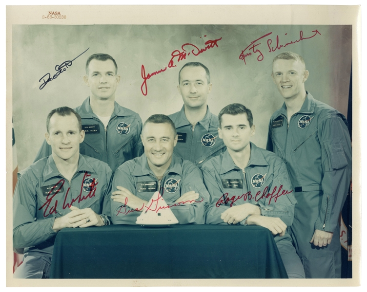 Apollo 1 Signed Photo With All Six Signatures From Primary and First Backup Crew -- With Steve Zarelli COA for All Signatures
