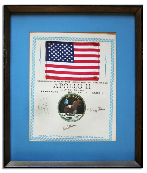 Exceptionally Scarce Apollo 11 Space-Flown U.S. Flag -- Affixed to a NASA Certificate Signed by Each of the Apollo 11 Crew Members: Neil Armstrong, Michael Collins & Buzz Aldrin