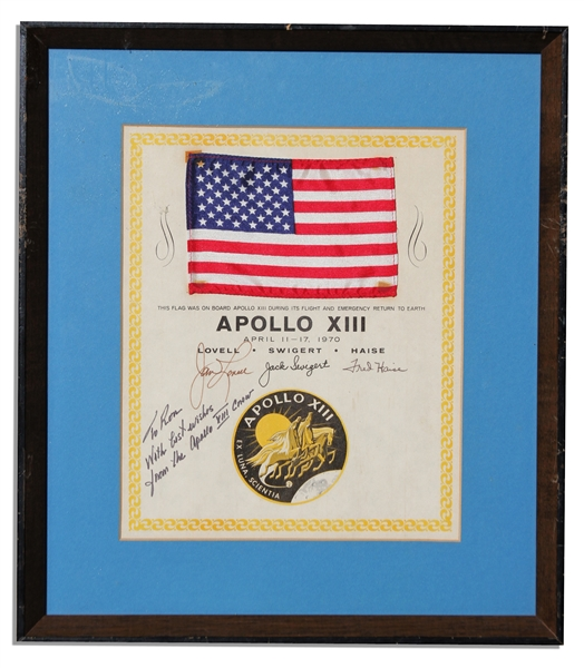 Apollo 13 American Flag Space-Flown -- Affixed to Official NASA Certificate Signed By Each Astronaut