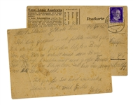 WWII Letter From a Prisoner at the Auschwitz Concentration Camp -- on Auschwitz Postcard With Camp Rules