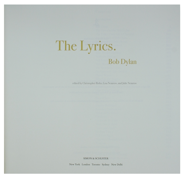 Bob Dylan Signed ''The Lyrics: Since 1962'' -- #15 of Only 50 Signed by Dylan