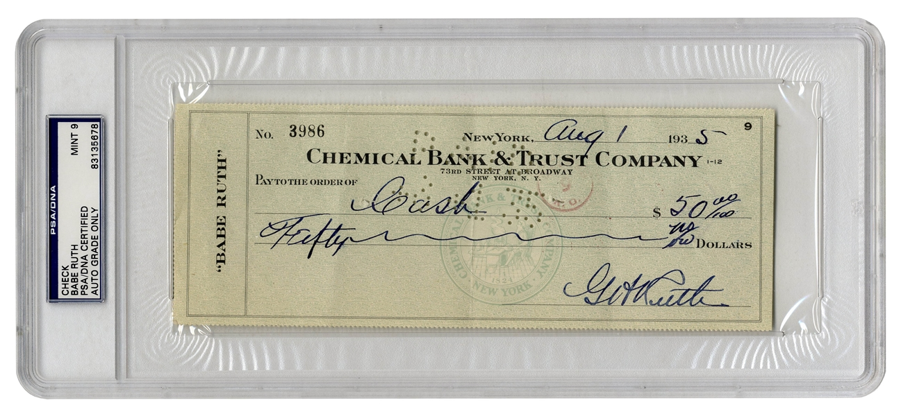 Babe Ruth Twice-Signed Check From 1935 -- Slabbed & Graded Mint 9 by PSA/DNA