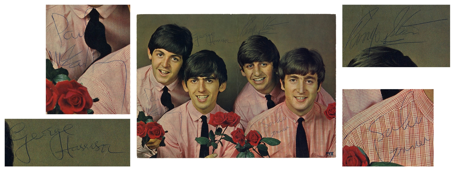 The Beatles Signed 12.25'' x 9'' Photo, Signed by Paul McCartney, John Lennon, George Harrison & Ringo Starr -- With Beckett COA for All Four Signatures