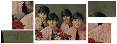 The Beatles Signed 12.25 x 9 Photo, Signed by Paul McCartney, John Lennon, George Harrison & Ringo Starr -- With Beckett COA for All Four Signatures