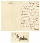 Benito Mussolini Autograph Letter Signed -- ...the cigarettes...are no longer smokeable...
