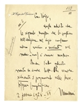 Benito Mussolini Autograph Letter Signed as Prime Minister and Duce of Fascism -- ...In order to make paying taxes enticing, its necessary to simplify...