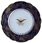Dramatic China Plate From the Benjamin Harrison Administration -- Blue Border Accented by Goldenrod & Encircled With 44 Stars