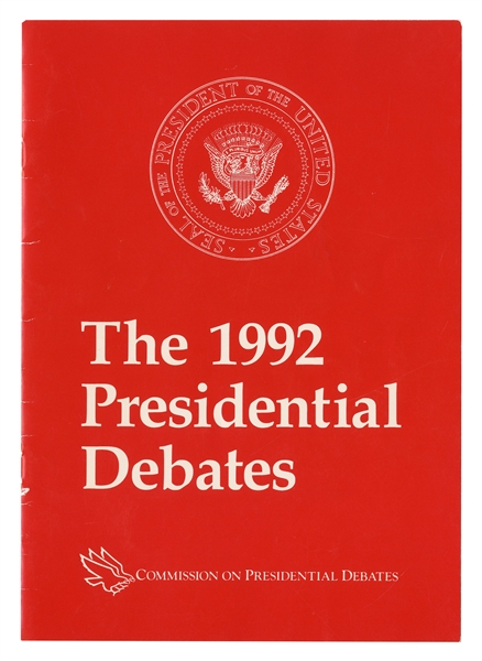 1992 Presidential Debate Program Signed by President George H.W. Bush, future President Bill Clinton, Hillary Rodham Clinton & Journalist Tom Brokaw