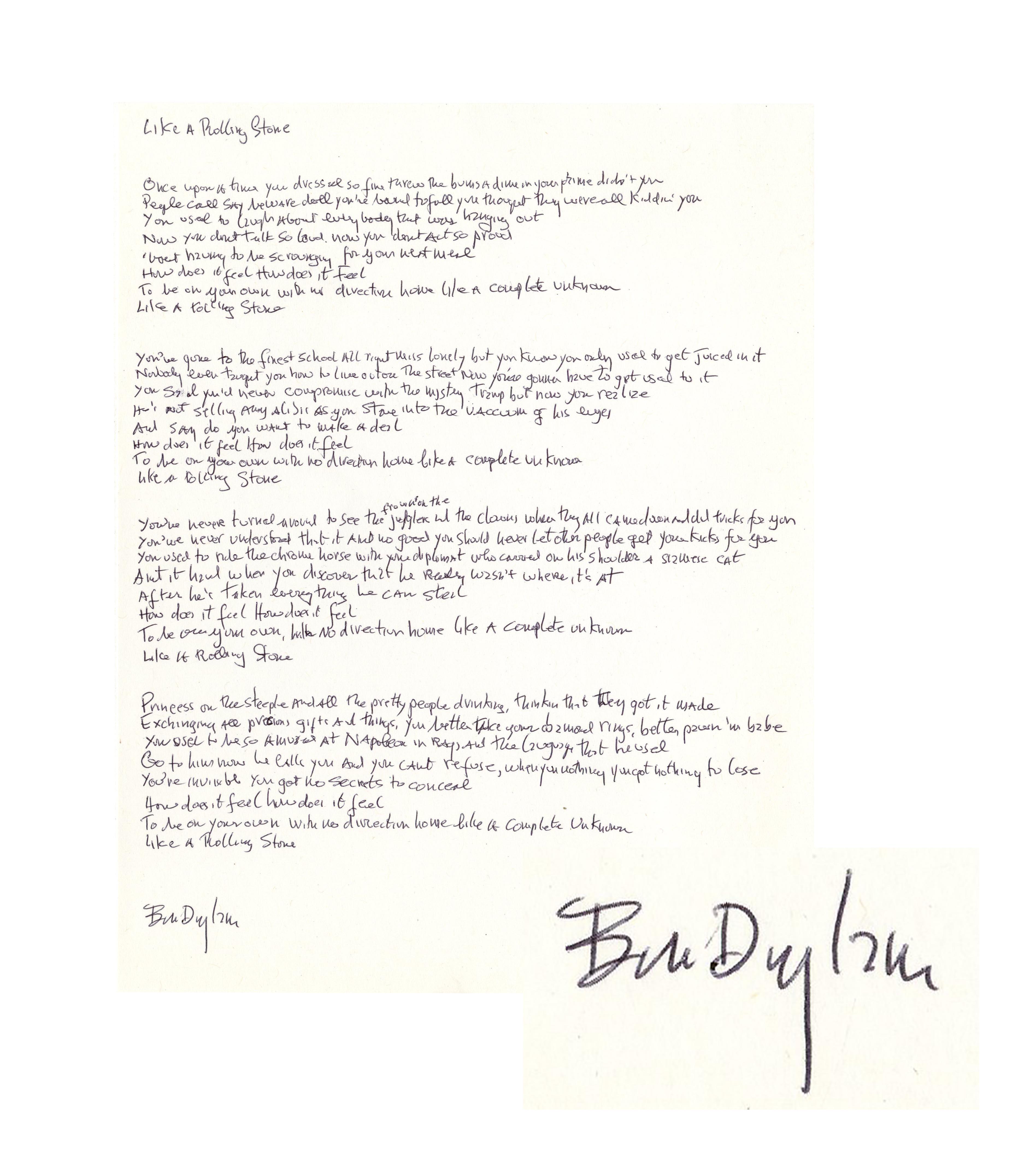 Lot Detail - Bob Dylan Signed, Handwritten Lyrics to ''Like