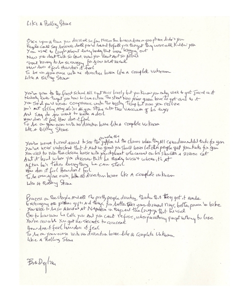 Bob Dylan Signed, Handwritten Lyrics to ''Like a Rolling Stone'' -- The Quintessential Rock Song