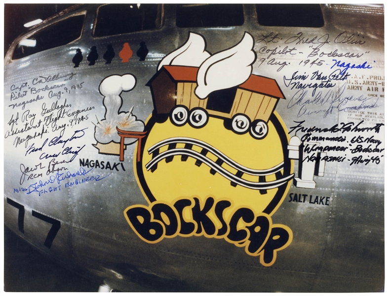 Bocks Car Crew-Signed 10'' x 8'' Photo of the B29 Bomber -- Signed by 9 of the Crewmen Who Flew the Mission During WWII