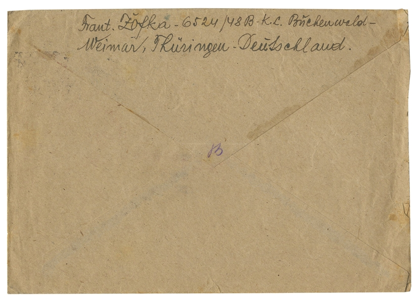 Buchenwald Concentration Camp Letter From 1941 -- ''... May spring bring you only beauty and fulfill all your hopes...Through your eyes, I am able to see everything at home...''