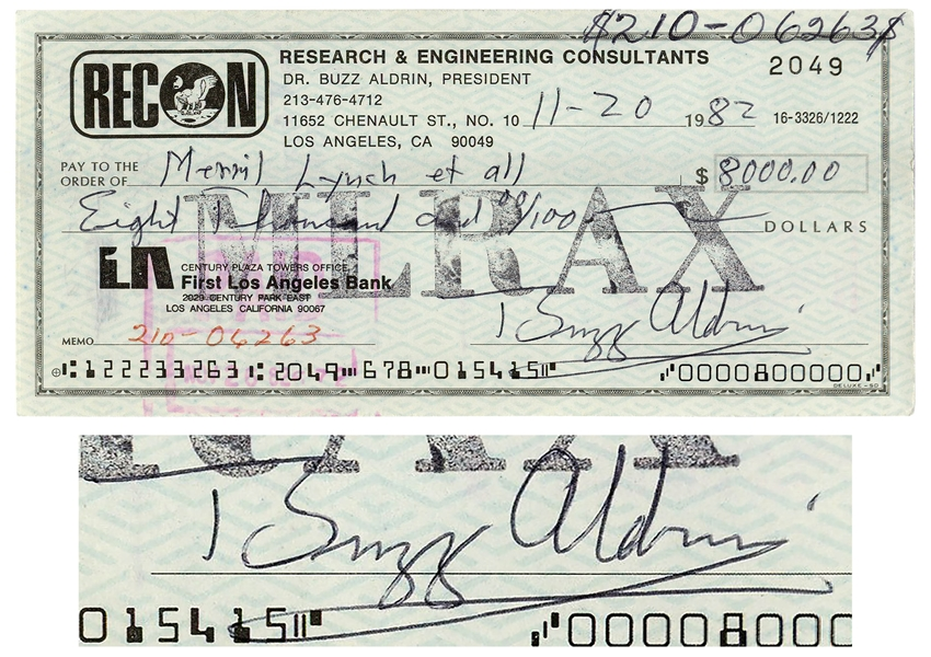Buzz Aldrin Check Signed -- From Aldrin's RECON Engineering & Consulting Company