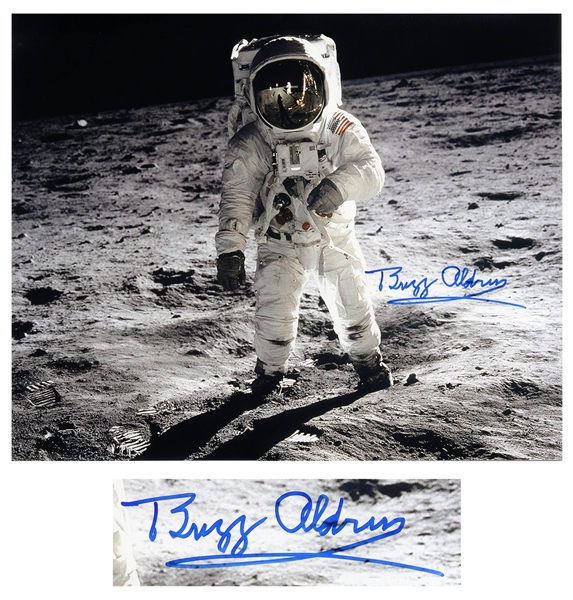 Buzz Aldrin Signed 20'' x 16'' Photo as He Walks on the Moon