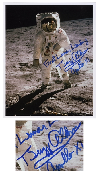 Buzz Aldrin Fantastic Signed 8'' x 10'' Photo of the ''First Lunar Landing''