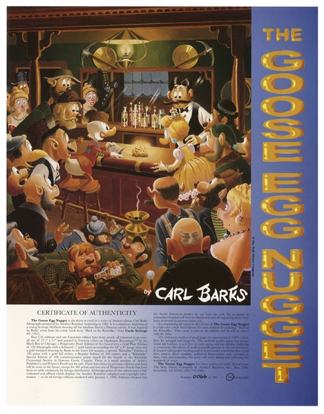 Disney Animator Carl Barks Signed Limited Edition Lithograph of ''The Goose Egg Nugget'' -- Scrooge McDuck Displays His Golden Nugget