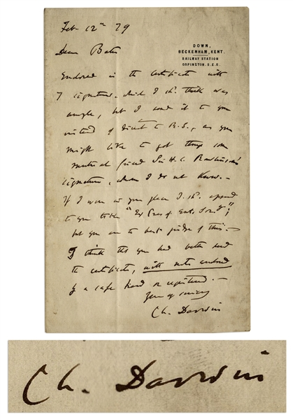 Charles Darwin Autograph Letter Signed to Fellow Naturalist & Explorer Henry Walter Bates, Author of ''The Naturalist on the River Amazons''