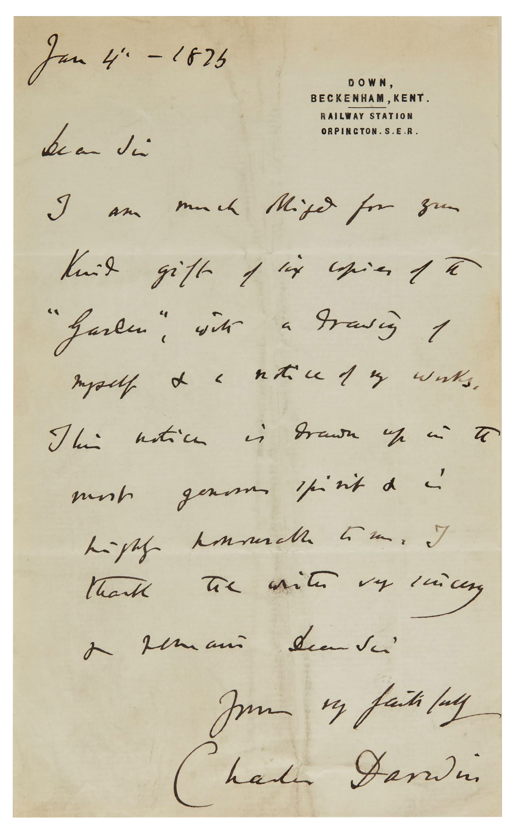 letter to darwin