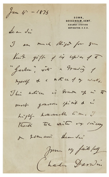 Charles Darwin Autograph Letter Signed -- Darwin Finally Receives Acclaim for His Works, ''...in the most generous spirit & is highly honourable to me...''