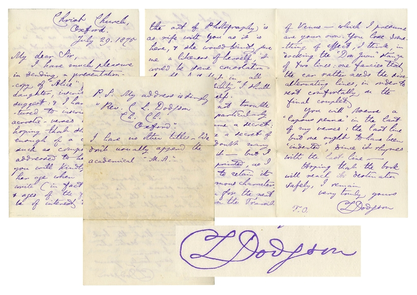Charles Dodgson Autograph Letter Twice-Signed -- ''...I have much pleasure sending a presentation copy of 'Alice' for your daughter...''