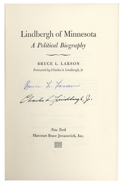 Charles Lindbergh Signed Copy of ''Lindbergh of Minnesota''